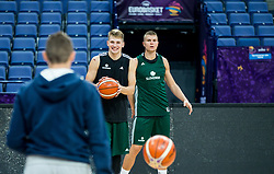 Luka Doncic of Slovenia and Edo Muric of Slovenia during a training session of Slovenian National Basketball team ahead of the FIBA EuroBasket 2017 match between Slovenia and Poland at Hartwall Arena in Helsinki, Finland on August 30, 2017. Photo by Vid Ponikvar / Sportida