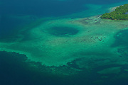 Coral reefs and sea hole at Bastimentos National Marine Park. Bocas del Toro archipelago, Panama, Caribbean, Central America.