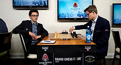 Aug. 02, 2017 - St. Louis, Missouri, U.S. -  GM FABIANO CARUANA, left, and GM MAGNUS CARLSEN square off on the opening day of play in the annual Sinquefield Cup at the Chess Club and Scholastic Center of St. Louis.  Ten of the world's top chess grandmasters are competing for a total of three hundred thousand dollars in this year's cup, one of the stops on the Grand Chess Tour.(Credit Image: © Brian Cahn via ZUMA Wire)