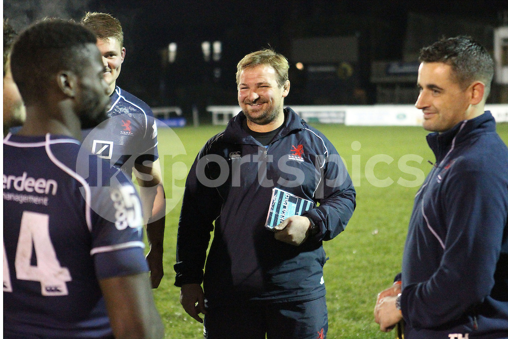 Coach James Buckland is all smiles after the Green King IPA Championship match between London Scottish &amp; Jersey at Richmond, Greater London on Friday 14th November 2014<br /> <br /> Photo: Ken Sparks | UK Sports Pics Ltd<br /> London Scottish v Jersey, Green King IPA Championship,14th November 2014<br /> <br /> &copy; UK Sports Pics Ltd. FA Accredited. Football League Licence No:  FL14/15/P5700.Football Conference Licence No: PCONF 051/14 Tel +44(0)7968 045353. email ken@uksportspics.co.uk, 7 Leslie Park Road, East Croydon, Surrey CR0 6TN. Credit UK Sports Pics Ltd
