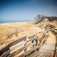 Photo of New Buffalo Michigan boardwalk, beach, and Lake Michigan shoreline.