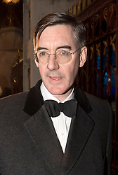 © Licensed to London News Pictures. 07/02/2018. London, UK.  JACOB REES-MOGG arrives at the Natural History Museum in London for the annual Black and White Ball, a fundraiser held by the Conservative Party. Photo credit: Ben Cawthra/LNP