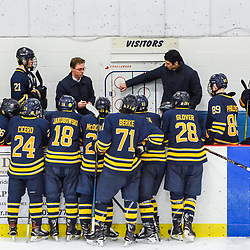 GEORGETOWN, ON - FEBRUARY 2: Nick Tuzzolino Head Coach of the Buffalo Jr. Sabres goes over the game plan during a time out on February 2, 2019 at Gordon Alcott Memorial Arena in Georgetown, Ontario, Canada.<br /> (Photo by Michelle Malvaso / OJHL Images)