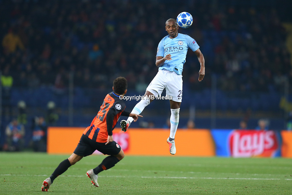 KHARKOV, UKRAINE - OCTOBER 23: Fernandinho of Manchester City in action during the Group F match of the UEFA Champions League between FC Shakhtar Donetsk and Manchester City at Metalist Stadium on October 23, 2018 in Kharkov, Ukraine. (Photo by MB Media/Getty Images)