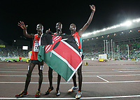 Ezekiel Kemboi (KEN), Brimin Kiprop Kipruto (KEN) und Richard Kipkemboi Mateelong (KEN) jubeln nach dem 3000m Steeple Rennen © Urs Bucher/EQ Images