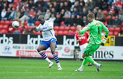 LONDON, ENGLAND - Saturday, October 8, 2011: Tranmere Rovers' Enoch Showunmi and Charlton Athletic's Ben Hamer in action during the Football League One match at The Valley. (Pic by Gareth Davies/Propaganda)