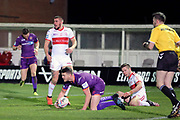 Huddersfield Giants half back Lee Gaskell (6) scores his second try to make it 0-8 during the Betfred Super League match between Hull Kingston Rovers and Huddersfield Giants at the Hull College Craven Park  Stadium, Hull, United Kingdom on 21 February 2020.