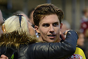 Goalscorer Chesham United midfielder Sam Youngs celebrates during the The FA Cup match between Bristol Rovers and Chesham FC at the Memorial Stadium, Bristol, England on 8 November 2015. Photo by Alan Franklin.
