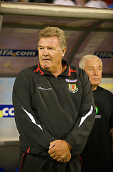 PODGORICA, MONTENEGRO - Wednesday, August 12, 2009: Wales' manager John Toshack MBE before an international friendly match against Montenegro at the Gradski Stadion. (Photo by David Rawcliffe/Propaganda)