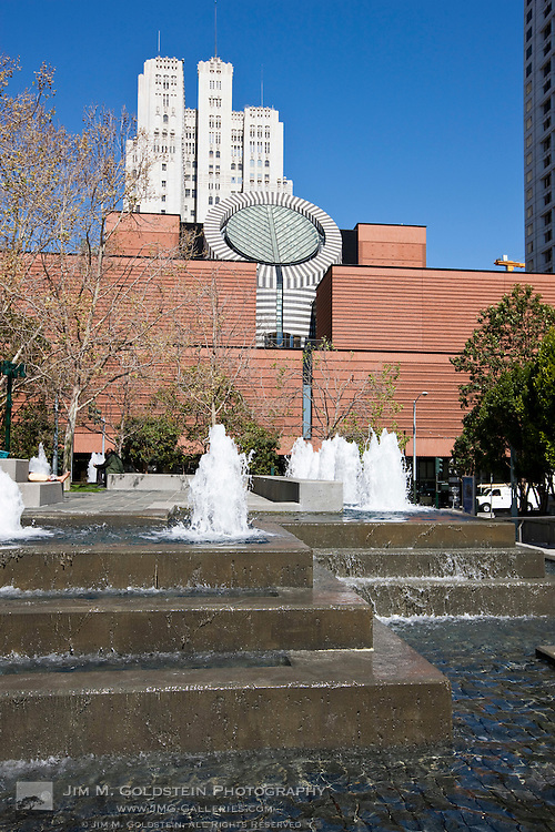 The iconic San Francisco Museum of Modern Art with a fountain in the foreground - San Francisco, California