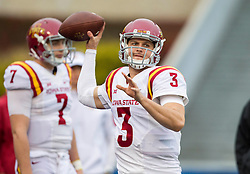 Nov 28, 2015; Morgantown, WV, USA; Iowa State Cyclones quarterback Grant Rohach (3) warms up before their game against the West Virginia Mountaineers at Milan Puskar Stadium. Mandatory Credit: Ben Queen-USA TODAY Sports