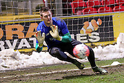 Bury goalkeeper, on loan from Manchester City, Ian Lawlor  during the The FA Cup match between Bradford City and Bury at the Coral Windows Stadium, Bradford, England on 19 January 2016. Photo by Simon Davies.
