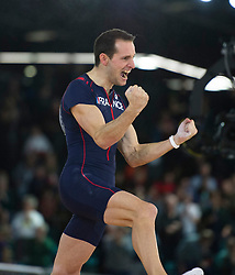 Renaud Lavillenie of France celebrates during the men's Pole Vault competition at the 2016 IAAF World Indoor Athletics Championships at the Oregon Convention Center in Portland, the United States, on March 17, 2016. Renaud Lavillenie won the champion with 6.02 meters. EXPA Pictures © 2016, PhotoCredit: EXPA/ Photoshot/ Yang Lei from Chongqing<br /> <br /> *****ATTENTION - for AUT, SLO, CRO, SRB, BIH, MAZ, SUI only*****