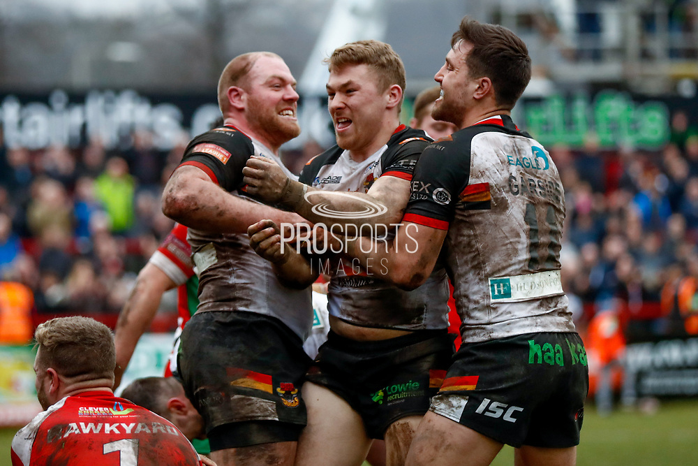 Bradford Bulls hooker Sam Hallas (9) scores a try and celebrates during the Betfred League 1 match between Keighley Cougars and Bradford Bulls at Cougar Park, Keighley, United Kingdom on 11 March 2018. Picture by Simon Davies.