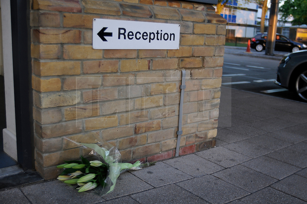 © Licensed to London News Pictures. 22/05/2013.Woolwich 'terrorist attack': One dead and two seriously injured. Woolwich Barracks,Woolwich..First flowers outside Woolwich barracks reception tonight 22.05.2013..Photo credit :Grant Falvey/LNP