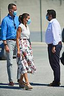 King Felipe VI of Spain, Queen Letizia of Spain visit La Carrichosa fruit cooperative on July 7, 2020 in Cieza, Spain