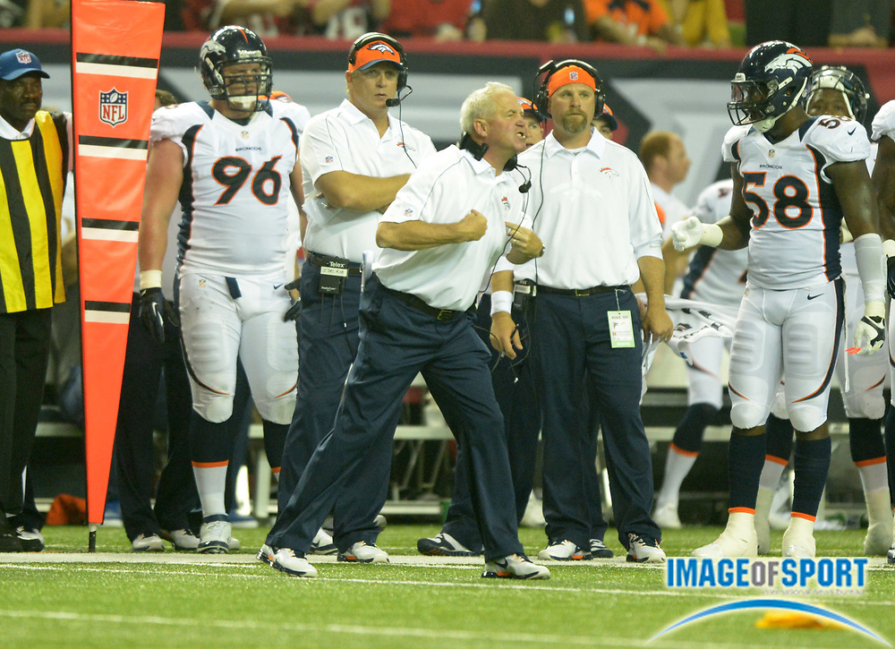 Sep 17, 2012; Atlanta, GA, USA; Denver Broncos coach John Fox reacts after a Broncos penalty during the game against the Atlanta Falcons at the Georgia Dome.