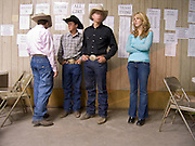 29 JULY 2005 - WILLIAMS, ARIZONA, USA: Young people at the rodeo dance during the Arizona Cowpunchers' Reunion Rodeo, the largest amateur rodeo in Arizona, in Williams, AZ, July 29. Professional rodeo cowboys cannot participate in the rodeo. Only working ranch cowboys and their families can participate in the rodeo. Williams, a small ranching town in northern Arizona and about an hour from the south entrance to the Grand Canyon National Park, has reinvented itself as a tourist destination. The town draws tourists going to the park and tourists who want to experience American western lifestyle. The town hosts the largest amateur rodeo in Arizona drawing contestants and spectators from across the state. PHOTO BY JACK KURTZ