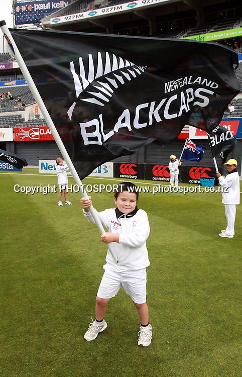 A young flag bearer during the 3rd ODI, Black Caps v Pakistan, One Day International Cricket. AMI Stadium, Christchurch, New Zealand. Saturday 29  January 2011. Photo: Andrew Cornaga/photosport.co.nz
