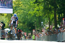 Riders compete in a 44 lap, 100 kilometer/62 miles Thompson Criterium Pro Men's Race at the September 11, 2016 Bucks County Classic in Doylestown, PA.