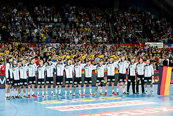 Players of Germany listening to the national anthem during handball match between National teams of Germany and Sweden on Day 4 in Preliminary Round of Men's EHF EURO 2016, on January 18, 2016 in Centennial Hall, Wroclaw, Poland. Photo by Vid Ponikvar / Sportida