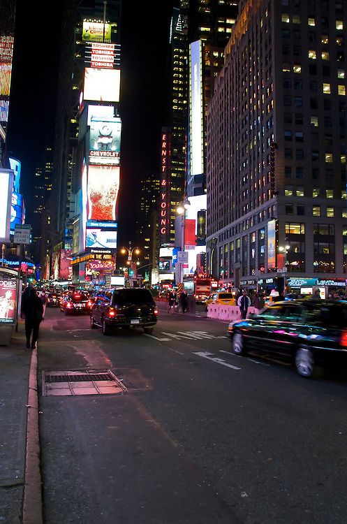 View of Time Square in New York at night, November 2008