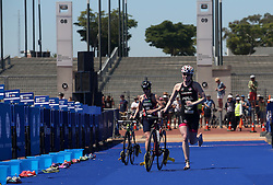 Lucy Hall of Great Britain leads Jessica Learmonth of Great Britain in the transition during the Elite Women race of the Discovery Triathlon World Cup Cape Town leg held at Green Point in Cape Town, South Africa on the 11th February 2017.<br /> <br /> Photo by Shaun Roy/RealTime Images