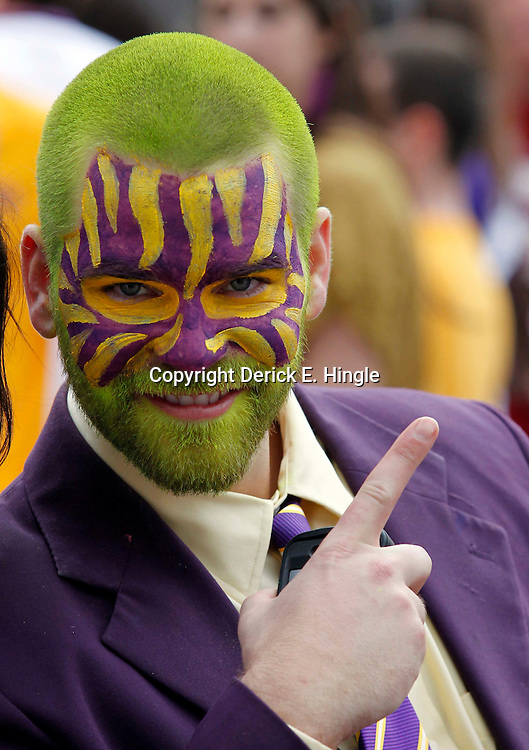 Jan 9, 2012; New Orleans, LA, USA; LSU Tigers fan Nick Hebert before the 2012 BCS National Championship game against the Alabama Crimson Tide at the Mercedes-Benz Superdome.  Mandatory Credit: Derick E. Hingle-US PRESSWIRE