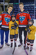 KELOWNA, CANADA - FEBRUARY 19:  Leif Mattson #28 of the Kelowna Rockets, Jack Cowell #8 of the Kelowna Rockets at the CIBC Family Skate with the Kelowna Rockets on February 19, 2018 at Prospera Place in Kelowna, British Columbia, Canada.  (Photo By Cindy Rogers/Nyasa Photography,  *** Local Caption ***