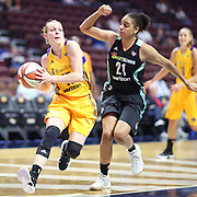 UNCASVILLE, CONNECTICUT- May 2:  Jamie Weisner #15 of the Los Angeles Sparks defended by Cierra Burdick #21 of the New York Liberty during the Los Angeles Sparks Vs New York Liberty, WNBA pre season game at Mohegan Sun Arena on May 2, 2017 in Uncasville, Connecticut. (Photo by Tim Clayton/Corbis via Getty Images)