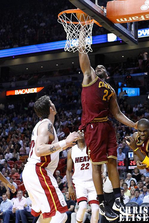 24 January 2012: Cleveland Cavaliers power forward Samardo Samuels (24) dunks the ball during the Miami Heat 92-85 victory over the Cleveland Cavaliers at the AmericanAirlines Arena, Miami, Florida, USA.