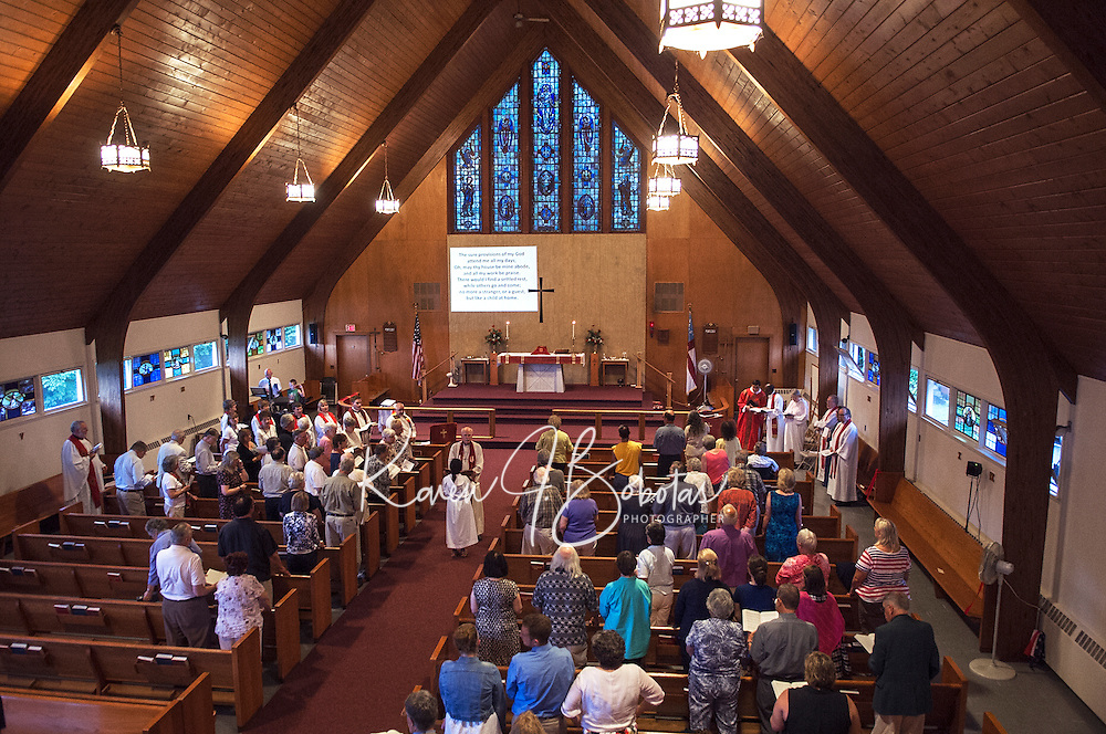 A service of Holy Eucharist on the occasion of the leave-taking of St James' Parish Wednesday evening.  (Karen Bobotas/for the Laconia Daily Sun)