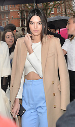 Kendall Jenner arriving at the Topshop Unique catwalk show A/W 2015, at The Topshop Show Space, Tate Britain in London, England during London Fashion Week. 22nd February 2015. Photo by James Warren/Photoshot. EXPA Pictures © 2015, PhotoCredit: EXPA/ Photoshot/ James Warren<br /> <br /> *****ATTENTION - for AUT, SLO, CRO, SRB, BIH, MAZ only*****