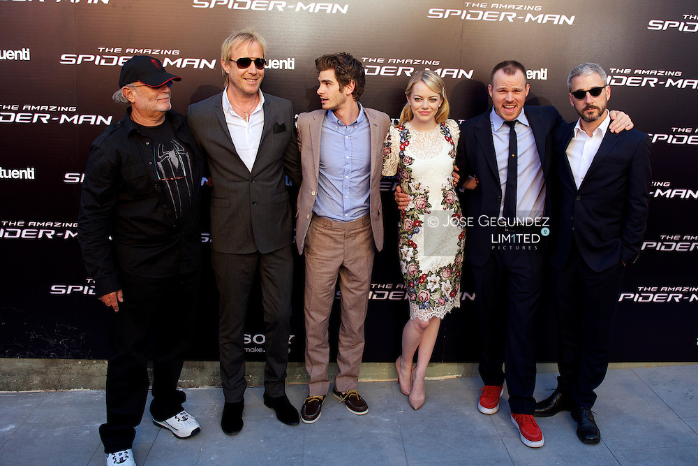 Producer Avi Arad, Actor Rhys Ifans, actress Emma Stone, actor Andrew Garfield, director Marc Webb and producer Matt Tolmach attend the premiere of 'The Amazing Spider-Man' at Callao Cinema in Madrid