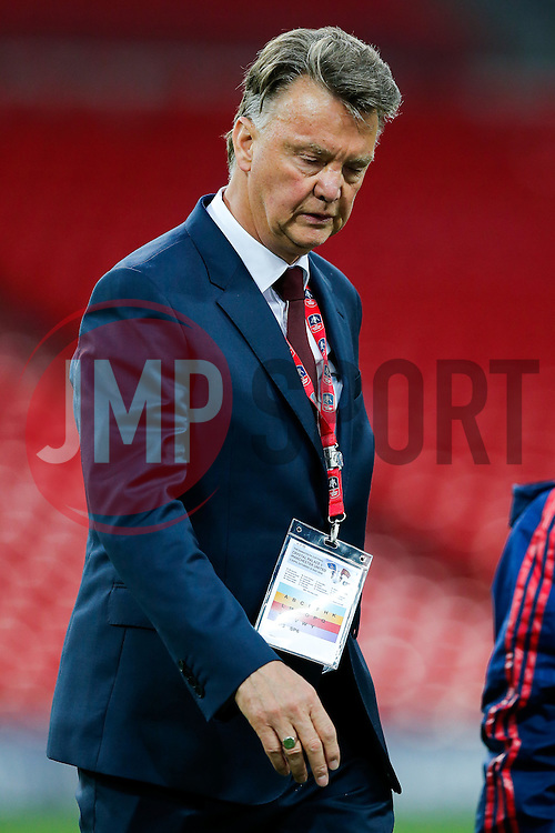 Manchester United Manager Louis van Gaal leaves the Wembley pitch looking slightly downbeat even after winning the FA Cup with a 1-2 victory after the game went to extra time. It was widely speculated after the game that it would be Van Gaal's last in charge of the club.  - Mandatory byline: Rogan Thomson/JMP - 21/05/2016 - FOOTBALL - Wembley Stadium - London, England - Crystal Palace v Manchester United - FA Cup Final.