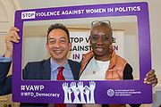 Sandra Pepera & Anthony Smith. 'Violence Against Women in Politics' Conference, organised by all the UK political parties in partnership with the Westminster Foundation for Democracy, 19th and 20th of March 2018, central London, UK.  (Please credit any image use with: © Andy Aitchison / WFD