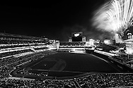[Note:  The photo was converted to black and white during post-processing.]  A general view of Target Field during a post-game fireworks show on July 2, 2010 in Minneapolis, Minnesota.
