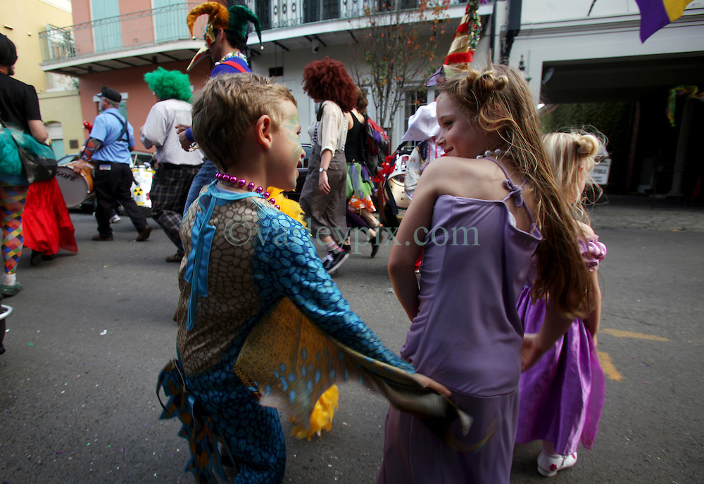 21 Feb 2012. New Orleans, Louisiana USA. .Ben slaps Amelie's butt - cheeky devil. Out and about in the French Quarter for Mardi Gras Day..Photo; Charlie Varley