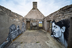 Graffiti painted on interior walls at Moine house in Sutherland, Scotland, UK