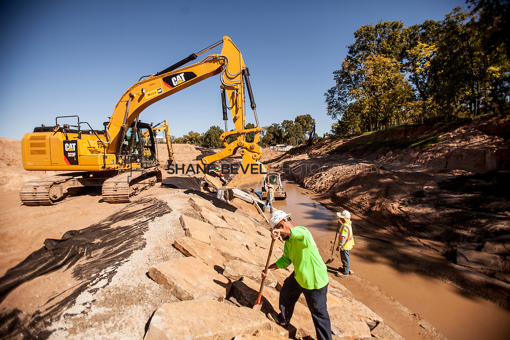 9/30/16 11:10:28 AM -- Lodge construction update. Mist Mountain Foundations, Peggy's Pond Rock install. <br /> <br /> Photo by Shane Bevel