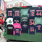 T-shirts for sale outside the Boston Red Sox V Tampa Bay Rays, Major League Baseball game on Jackie Robinson Day, Fenway Park, Boston, Massachusetts, USA, 15th April, 2013. Photo Tim Clayton