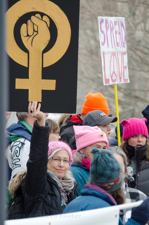 Augusta, Maine, USA. 21st Jan, 2017. Women's March on Maine rally in front of the Maine State Capitol. The March on Maine is a sister rally to the Women's March on Washington. Credit: Jennifer Booher/Alamy Live News