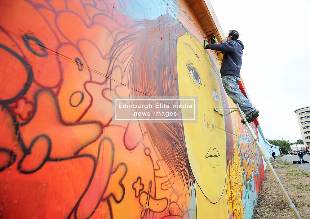 Artists from around the world descended on Edinburgh to help create the UK's longest legal graffiti wall in Leith.<br /> <br /> © Dave Johnston / EEm