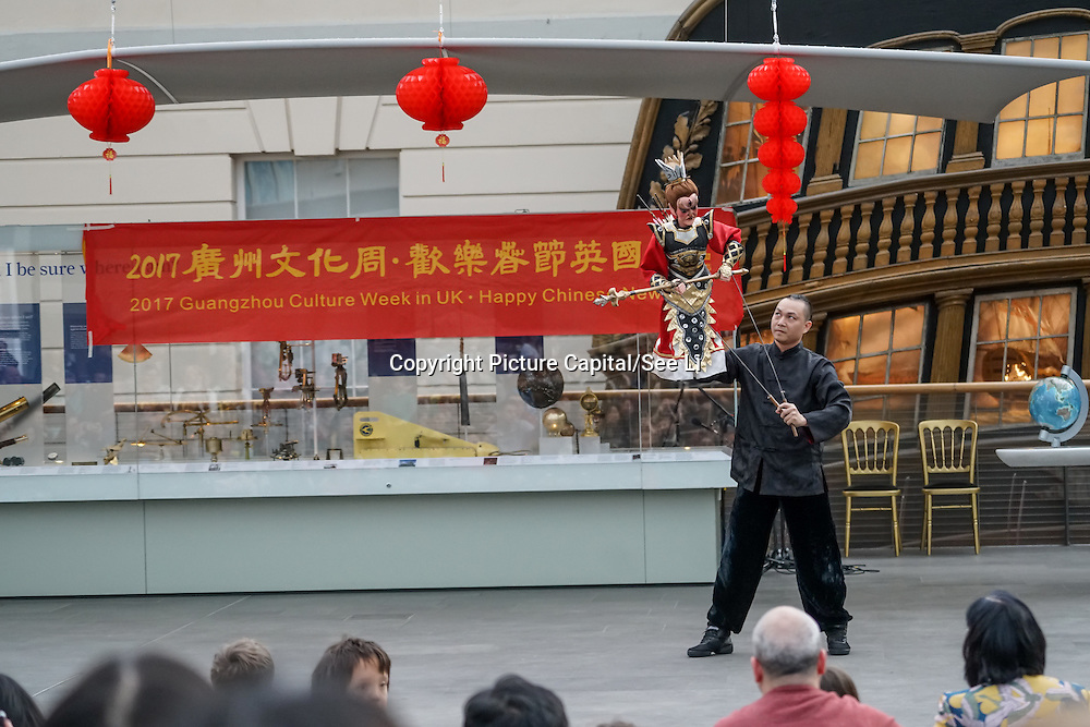 """London,England,UK. 28th January 2017: Hundreds of local addtedees the Chinese Culture Office,Embassy of the People's Republic of China in the UK """"Xiang Xiaowei host a spectacle puppets show an hour and a hlaf long for the Chinese New Year: Guangzhou Art Troupe at National Maritime Museum,London,UK. by See Li"""