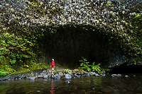 Young man hiking along Eagle Creek in the Columbia River Gorge, OR