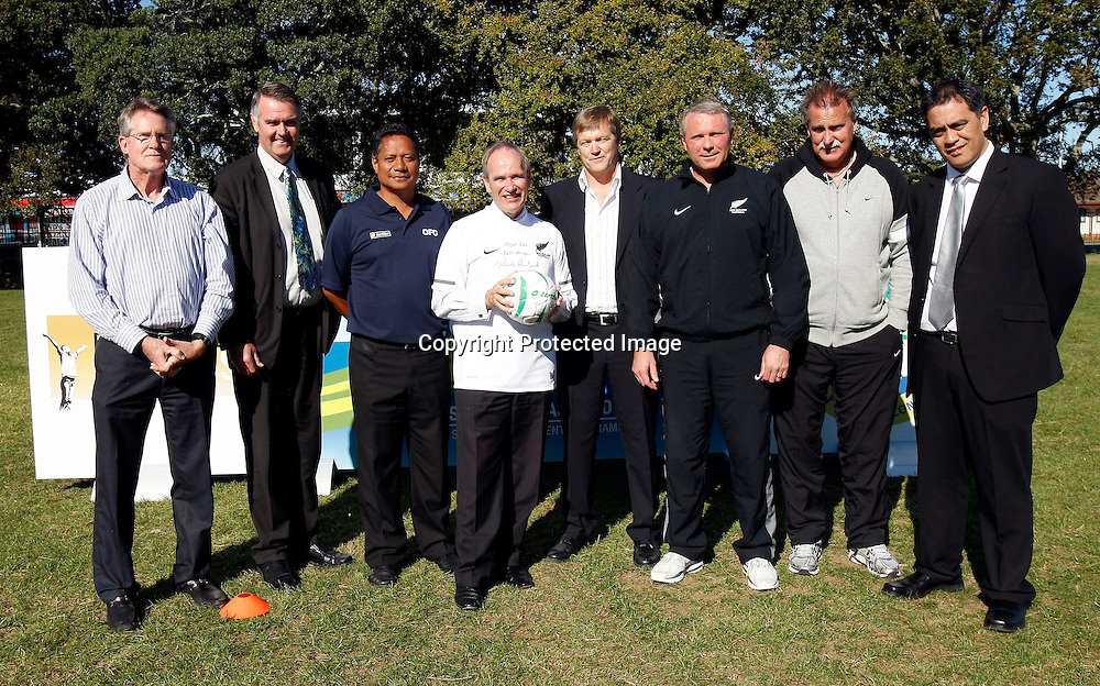 Left to right Find Your Field Of Dreams Foundation's Sir John Walker, Manukau City Deputy Mayor Gary Troup, former All White Colin Tua, Manukau City Mayor Len Brown, New Zealand Football Chairman Frank van Hattum, All Whites head coach Ricki Herbert, All Whites assistant coach Brian Turner and Oceania Football Confederation General Secretary Tai Nicholas. Football, Media conference for the launch of Just Play - Active and Healthy for Life, an Oceania Football Confederation initiative to be introduced across Manukau in partnership with John Walker Find Your Field of Dreams Foundation. Papatoetoe Central School, Papatoetoe, Wednesday 5th May 2010. Photo: Shane Wenzlick/PHOTOSPORT