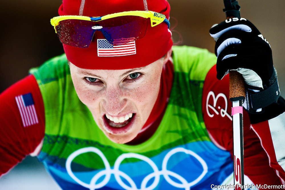 Kikkan Randall of the United States reacts after competing in the women's cross-country skiing 30 KM mass start classic during the 2010 Vancouver Winter Olympics in Whistler, Canada, on Feb. 27, 2010.