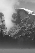 Half Dome, Sierra Mist, Yosemite Valley, Yosemite National Park, Black and White Photography, snow scenes, dark forest, winter scenes, M2 BW