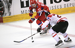 Alexander Radulov (47) of Russia vs Jason Chimera (25) of Canada at  ice-hockey game Canada vs Russia at finals of IIHF WC 2008 in Quebec City,  on May 18, 2008, in Colisee Pepsi, Quebec City, Quebec, Canada. Win of Russia 5:4 and Russians are now World Champions 2008. (Photo by Vid Ponikvar / Sportal Images)