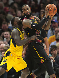 April 25, 2018 - Cleveland, OH, USA - The Cleveland Cavaliers' LeBron James (23) work against the Indiana Pacers' Lance Stephenson in the second quarter in Game 5 of a first-round playoff series on Wednesday, April 25, 2018, at Quicken Loans Arena in Cleveland. (Credit Image: © Leah Klafczynski/TNS via ZUMA Wire)